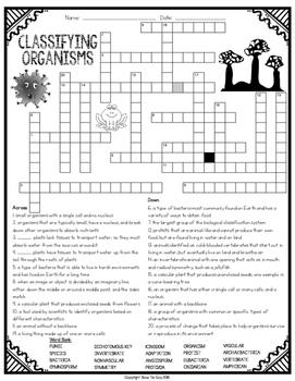 Classifying Organisms Comprehension Crossword