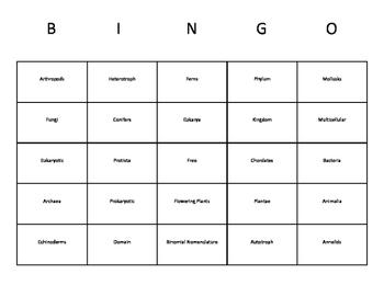 Classifying Organisms (Taxonomy) Vocabulary Bingo