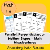 Classifying Parallel and Perpendicular Slopes Math Misadventure (editable story)