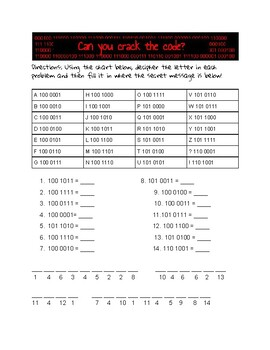 Binary Coding Secret Message Sample Page by