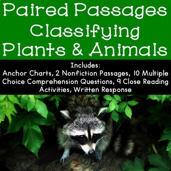 Classifying Plants and Animals Reading Comprehension Paired Passages