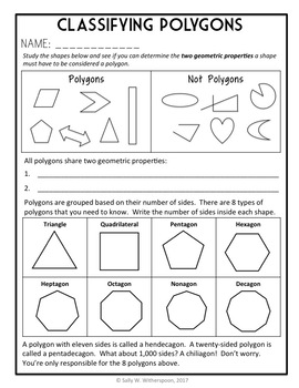 Classifying Polygons, 5th Grade Geometry, 8 page Lesson Packet and Quiz,  5 G 3