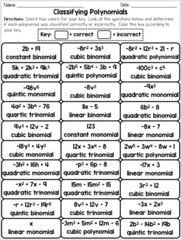 Classifying Polynomials Quick Color