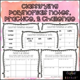 Classifying Polynomials Vocabulary, Notes, Practice, & Challenge