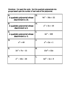 Classifying Quadratic Polynomials By Number of Real Roots