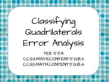 Classifying Quadrilateral Error Analysis TEK 5.5A