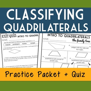 Classifying Quadrilaterals, 2-Day Lesson Packet, 5th Grade Geometry, 16 pgs.