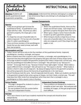 Classifying Quadrilaterals Lesson Packet, Geometry Lesson & Exit Quiz
