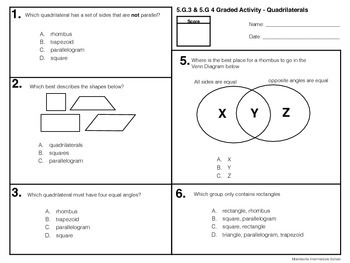 Classifying Quadrilaterals 5.G.3 & 5. G.
