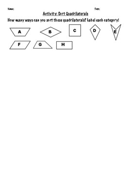 Classifying Quadrilaterals Activity Practice Worksheets FREEBIE