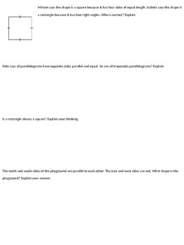 Classifying Quadrilaterals Assessment: Print and Assess!