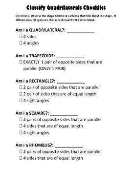 Classifying Quadrilaterals Checklist
