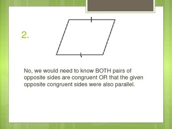 Classifying Quadrilaterals, Conditions for a Parallelogram