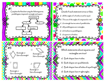 Classifying Quadrilaterals Based on Properties Task Cards   5.G.B.3  &  5.G.B.4