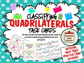 Classifying Quadrilaterals Tasks Cards and Individual Practice Sheet