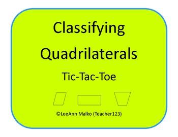 Classifying Quadrilaterals Tic-Tac-Toe
