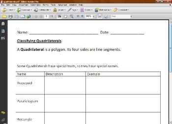 classifying quadrilaterals worksheet by ms cyndy tpt. Black Bedroom Furniture Sets. Home Design Ideas