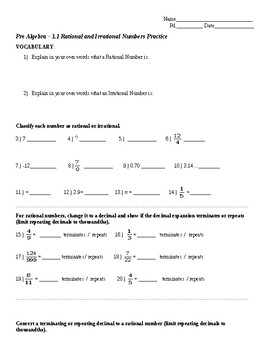 Classifying Rational & Irrational Numbers Practice