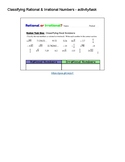 Classifying Rational & Irrational Numbers - worksheet