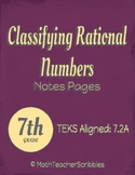 Classifying Rational Numbers Note Pages