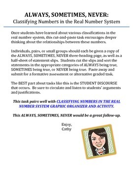 Classifying Real Numbers ALWAYS, SOMETIMES, NEVER Cut & Paste Activity