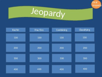 Classifying Real Numbers Jeopardy Game