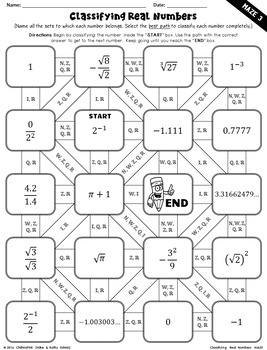 Classifying Real Numbers Mazes