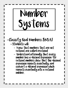 Classifying Real Numbers- Notes