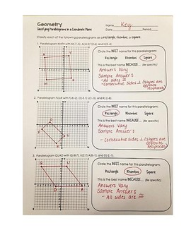 Classifying Rectangles, Rhombi & Squares in a Coordinate Plane