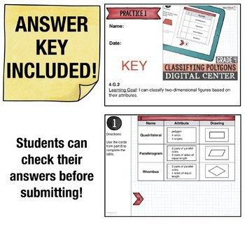 Classifying Shapes- 4th Grade Digital Interactive Math Center