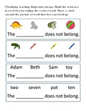 Classifying Sort #26 Following Directions Emergent Reader What Does Not Belong