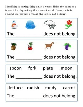 Classifying Sort #27 Following Directions Emergent Reader What Does Not Belong
