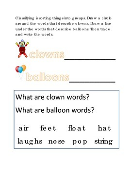 Classifying Sorting Clowns Balloons #10 Following Directions Emergent Reader