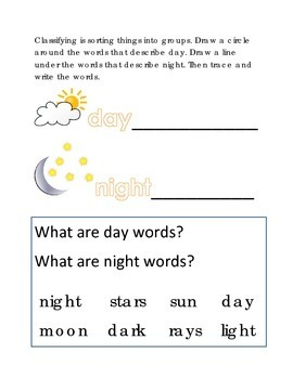 Classifying Sorting Day Night Words #11 Following Directions Emergent Reader