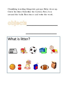 Classifying Sorting Groups #1 Following Directions Comprehension Emergent Reader