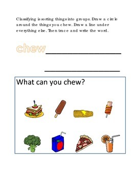 Classifying Sorting Groups #6 Following Directions Comprehension Emergent Reader
