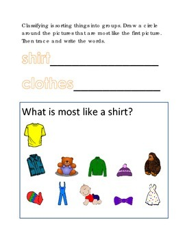 Classifying Sorting Similar Objects #14 Following Directions Emergent Reader