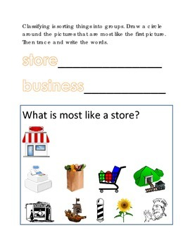 Classifying Sorting Similar Objects #17 Following Directions Emergent Reader