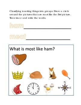 Classifying Sorting Similar Objects #18 Following Directions Emergent Reader