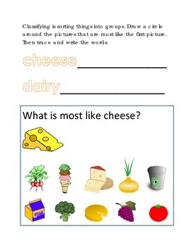 Classifying Sorting Similar Objects #20 Following Directions Emergent Reader