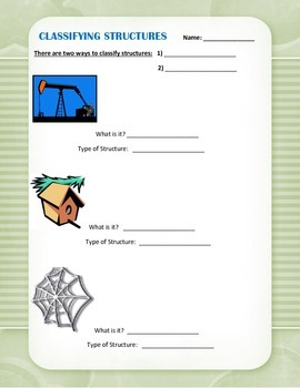 Classifying Structures Worksheet - Natural vs. Human built