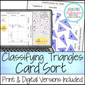 Classifying Triangles Card Sort By Amazing Mathematics Tpt