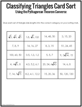 Classifying Triangles Card Sort (Pythagorean Thm Converse)