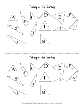 Classifying Triangles Hands-On sorting activity