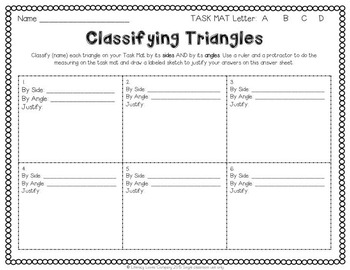 Classifying Triangles Math Center