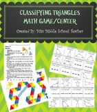 Classifying Triangles Math Game/Center