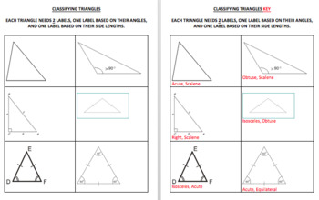Classifying Triangles Memory Match Game & Quiz