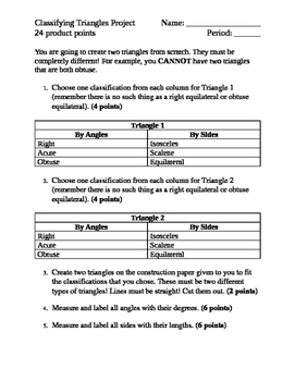 Classifying Triangles Project Rubric
