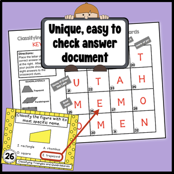 Classifying Triangles & Quadrilaterals Task Cards - w/ coded answer document