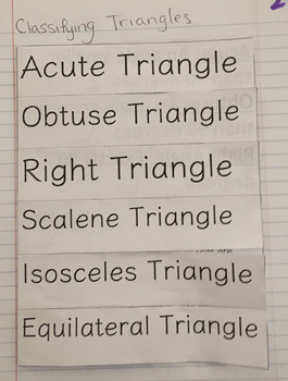 Classifying Triangles (Triangle Definitions) Interactive Notebook Foldable